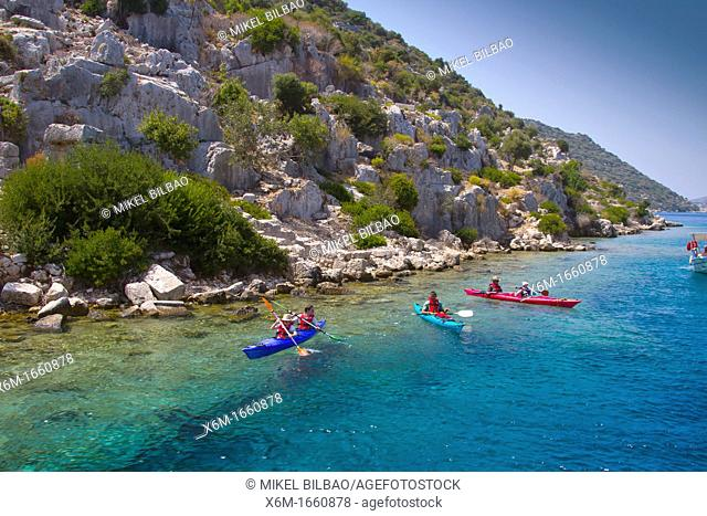 People and kayak  Kekova island  Antalya province  Mediterranean coast  Turkey
