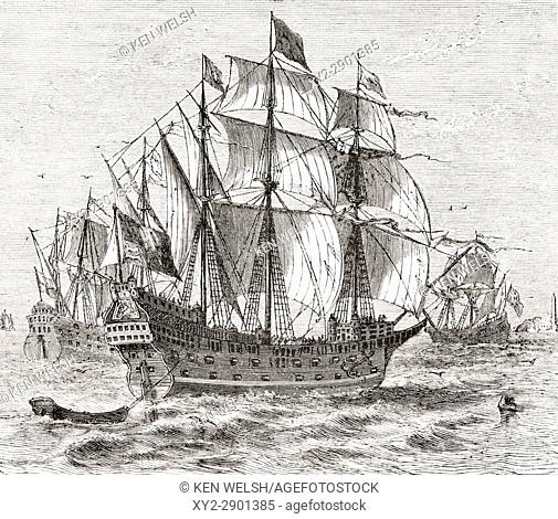 English war vessel Harry Grace A Dieu, built in 1513. From The National and Domestic History of England by William Aubrey published London circa 1890