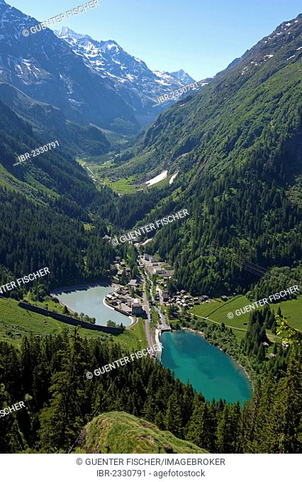 Val de Bagnes, Fionnay, with the compensating and impounding reservoirs of the hydroelectric complex of power plants of Kraftwerke Mauvoisin AG, Fionnay