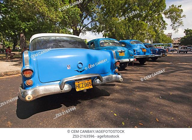 Old american cars parked at the roadside in park, Havana, Cuba, West Indies, Central America