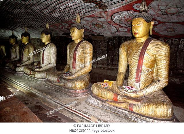 Buddha figures, cave temple, Dambulla, Sri Lanka. Dambulla is a World Heritage Site in Sri Lanka, located north of Kandy in Matale district