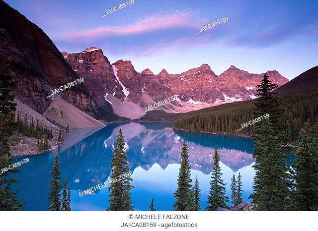 Moraine Lake and Valley of 10 Peaks Wenkchemna Peaks at sunrise, Banff National Park, Alberta, Canada