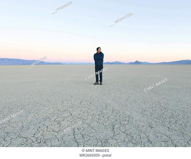 Man standing in vast desert playa at dawn, Black Rock Desert, Nevada