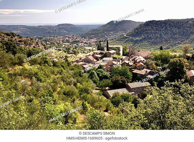 France, Ardeche, Les Vans, view on Naves