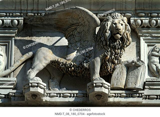 Close-up of the statue of a lion, Venice, Veneto, Italy