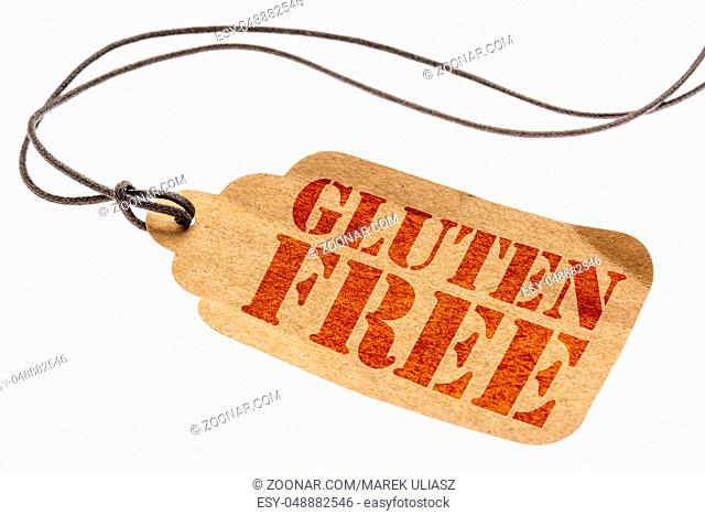gluten free sign a paper price tag with a twine isolated on white