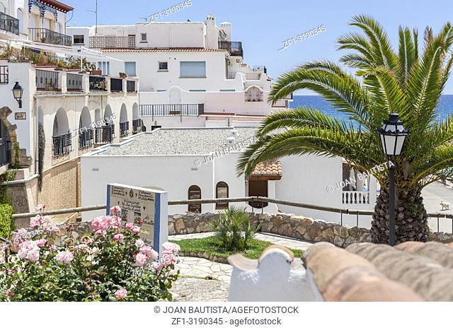 RODA DE BERA,SPAIN-MAY 30,2016: Roc Sant Gaieta, picturesque residential buildings, Roda de Bera, Costa Daurada, province Tarragona, Catalonia