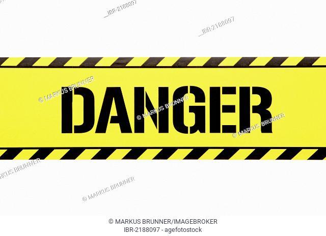Barrier tape with the word danger