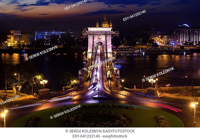 Ð¡ircular road in font of Chain bridge in Budapest at night