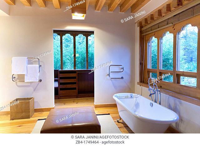 Bathroom of COMO Villa, Boutique luxury resort UMA Paro Hotel, Paro, Bhutan, Asia