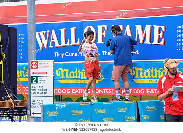 Nathan's Famous International Hot Dog Eating Contest at Coney Island Featuring: Atmosphere Where: Brooklyn, New York, United States When: 04 Jul 2015 Credit:...
