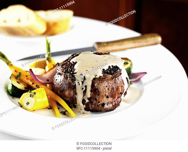 Steak Au Poivre, Filet Mignon with Black Peppercorn Sauce