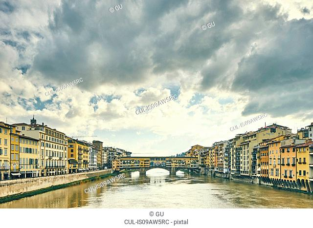 View of Arno river and Ponte Vecchio, Florence, Italy