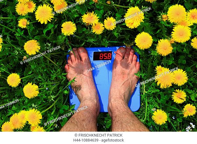 man on scales, Switzerland