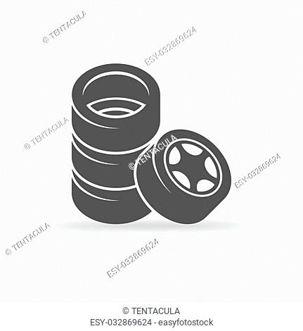 Tire icon - vector stack of four wheels symbol or logo