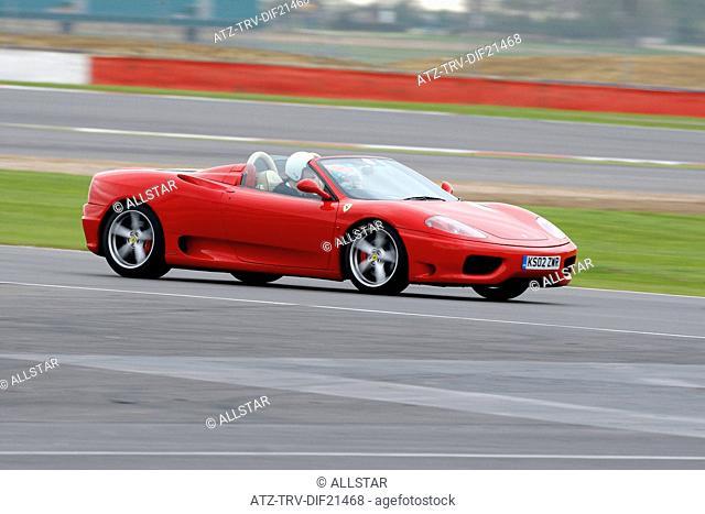 RED FERRARI F430 SPIDER CAR; GRAND PRIX CIRCUIT, SILVERSTONE, ENGLAND; 07/04/2011