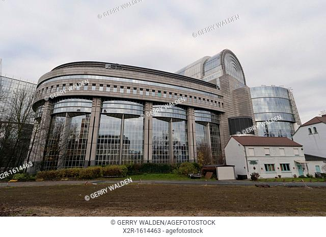 The European Parliament building in the centre of Brussels, Belgium