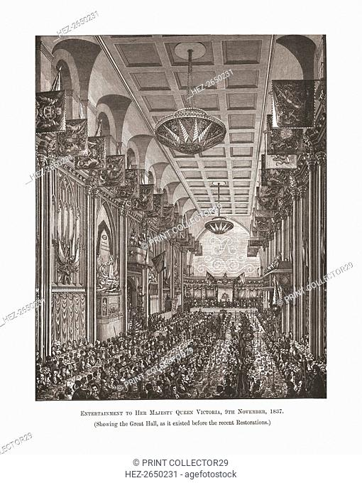Great Hall Guildhall, 1837, (1886). Artist: Unknown