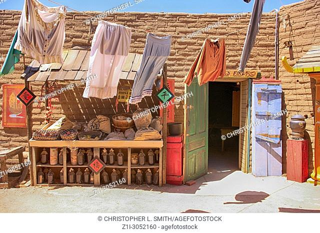 Mr Woo's Chinese Laundry building at the Old Tucson Film Studios amusement park in Arizona