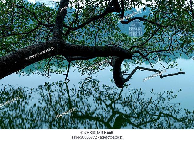 Asia, Asian, Southeast Asia, Vietnam, Northern, Hanoi, Capitol, Hoan Kiem Lake, Turtle tower, temple, tree