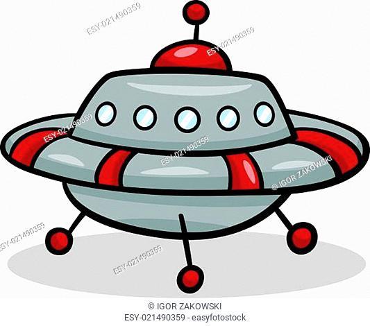 ufo flying saucer cartoon illustration