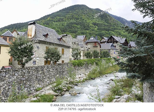 Stone architecture in Arties village Aran valley Lleida Catalunya Spain on September 9, 2018