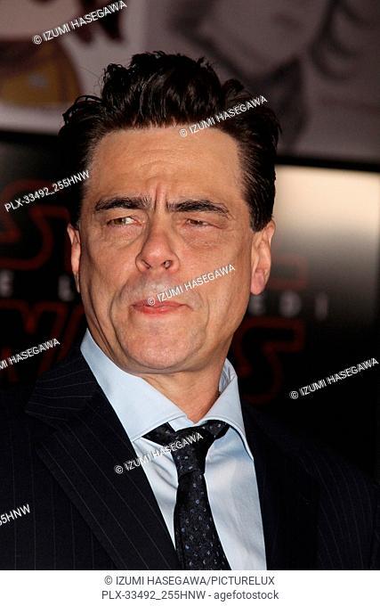 """Benicio Del Toro 12/09/2017 The World Premiere of Lucasfilm's """"""""Star Wars: The Last Jedi"""""""" held at Shrine Auditorium in Los Angeles"""