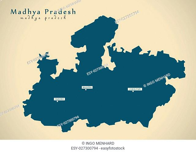 Modern Map - Madhya Pradesh IN India federal state illustration silhouette
