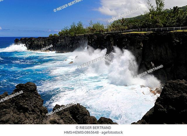 France, Ile de la Reunion (French overseas department), South coast, Saint Philippe, the Cap Mechant (Bad Cape) is located along a rugged coastline of volcanic...