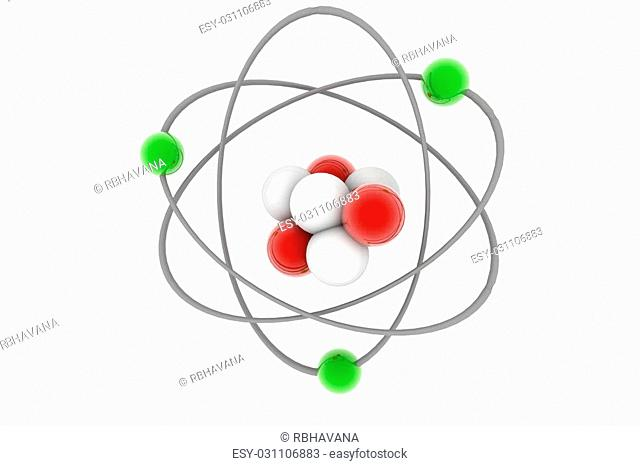 3d rendering of atom in isolated background