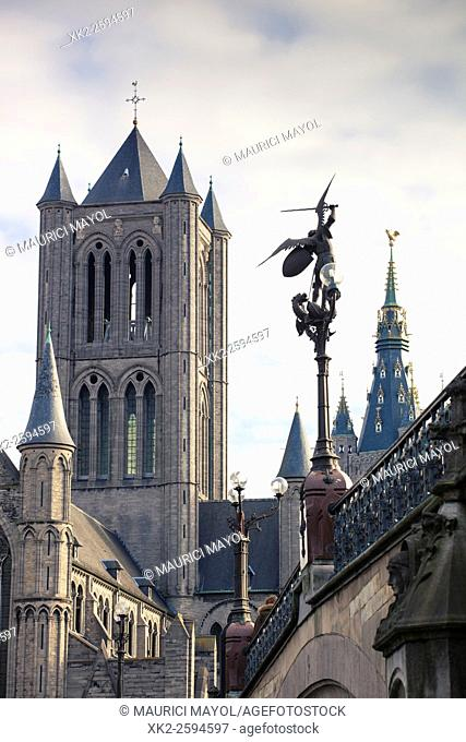 Belfort's tower and Sint-Michiels sculpture from the bridge, Ghent, Belgium