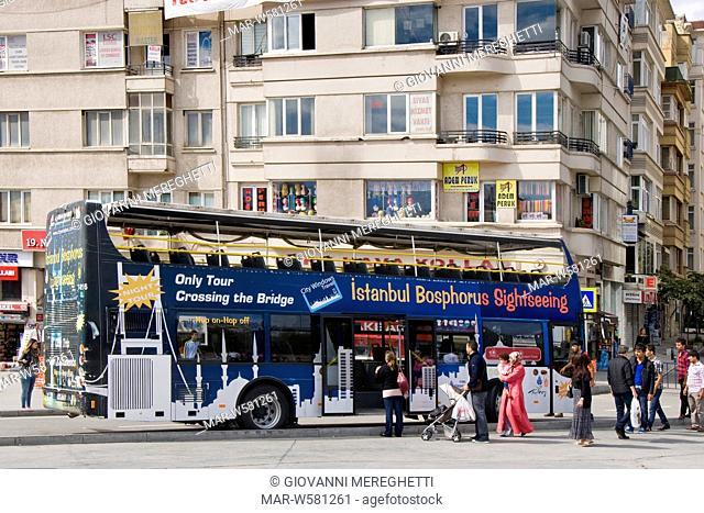 Tourist bus, taksim square, istanbul, turkey