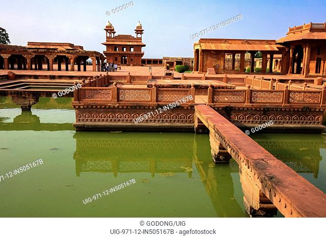 Fatehpur Sikri, founded in 1569 by the Mughal Emperor Akbar, served as the capital of the Mughal Empire from 1571 to 1585. Imperial Palace complex