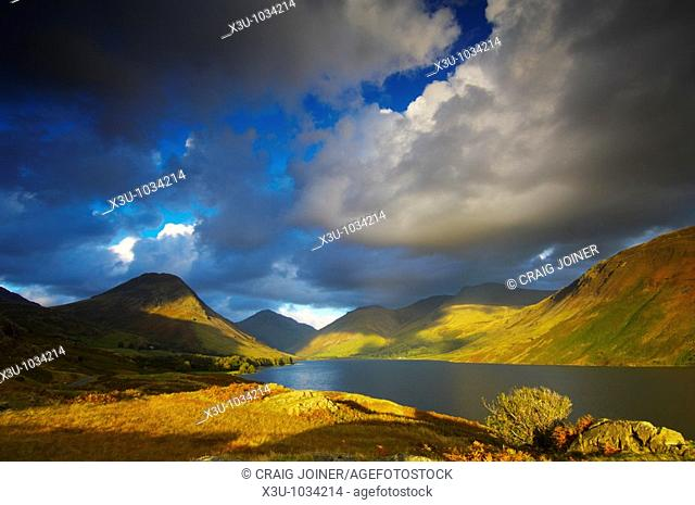 Wast Water in autumn in The Lake District National Park Cumbria England
