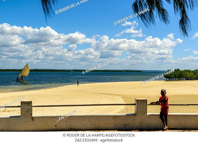 Dhow and beach scene Ibo Island. Mozambique