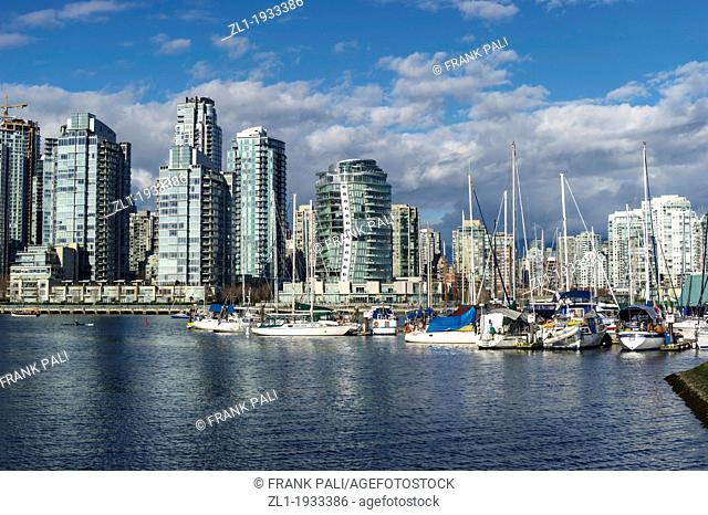 Marina in false creek and the skyline of the Vancouver Condos on sunny day.Vancouver,British Columbia