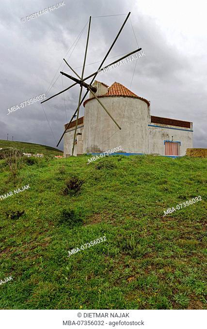 Windmill in the fishing village Carrapateira, Parque Natural do Sudoeste Alentejano and Costa Vicentina, Algarve