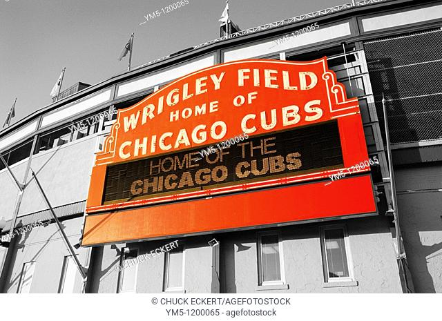 Historic Chicago Wrigley Field Sign in Black and White and Color