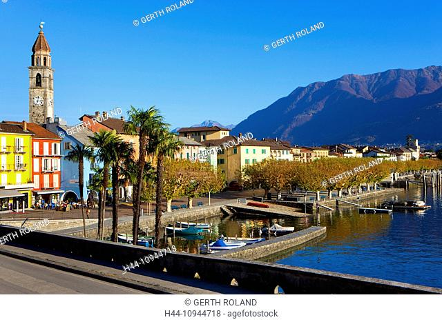 Ascona, Switzerland, Europe, canton, Ticino, Lago Maggiore, houses, homes, harbour, port, boats, church, bank promenade, palms