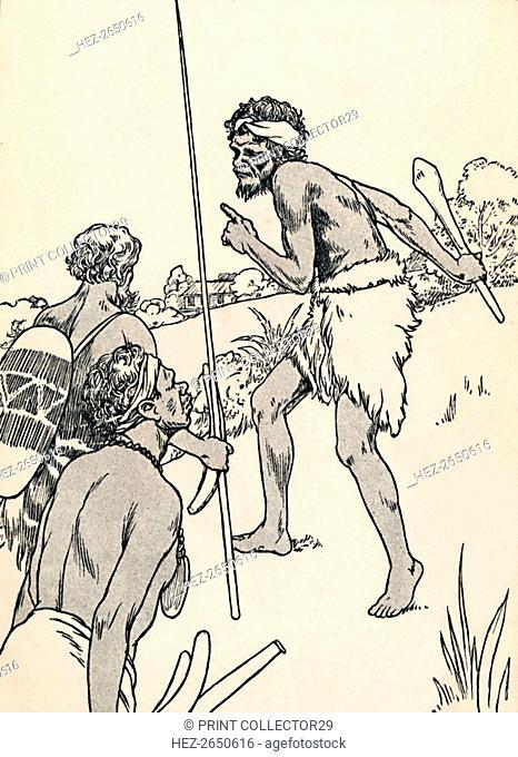Aboriginal men approaching a settlers farm, 1912. Artist: Charles Robinson