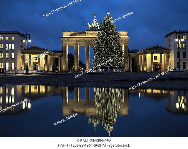 The Brandenburg Gate and the Christmas tree in front of it reflect in a pdudle in the morning in Berlin, Germany, 8 December 2017