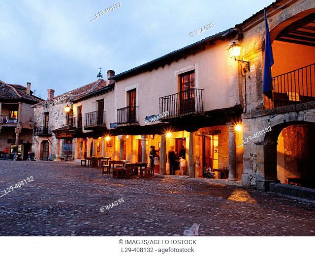 Main Square, Pedraza. Segovia province, Castilla-León, Spain