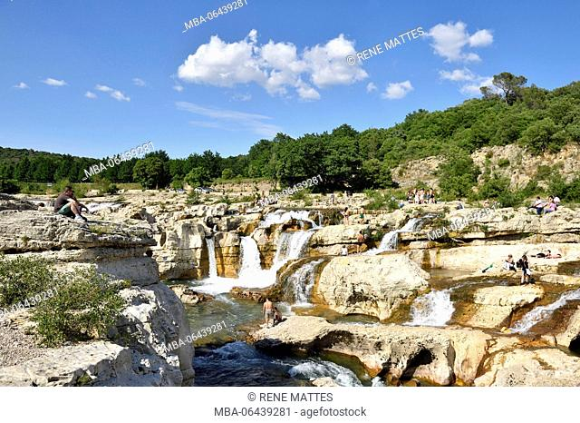 France, Gard, La Roque sur Ceze, labelled Les Plus Beaux Villages de France (The Most Beautiful Villages of France), Ceze river and Sautadet waterfalls