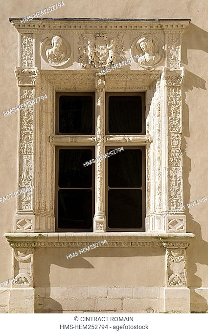 France, Pyrenees Atlantiques, Bearn, Pau, the castle of Henry IV, detail of a facade
