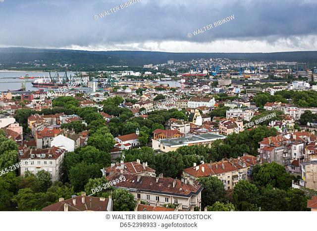 Bulgaria, Black Sea Coast, Varna, elevated city and port view, morning