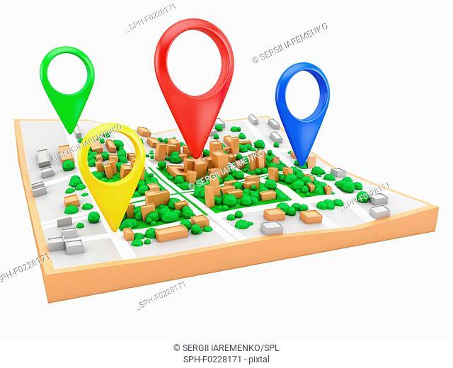 Location pins on city map, illustration