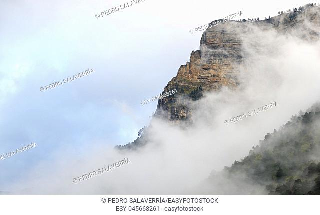 Rocky wall in the Pyrenees, Ordesa Valley National Park, Aragon, Huesca, Spain