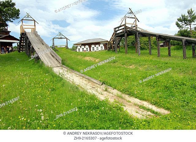 "wooden Russian hills, """"Taltsa's"""" (Talzy) - Irkutsk architectural and ethnographic museum. Baikal, Siberia, Russia"