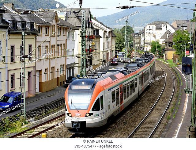 GERMANY, ASSMANNSHAUSEN, 08.09.2014, DEU , GERMANY : A train of the Rheingau Line of Vias GmbH is passing through Assmannshausen - Assmannshausen, Hesse