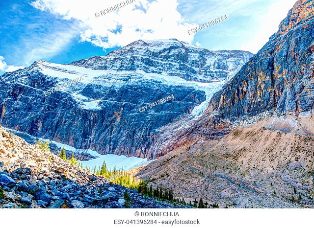 Mount Edith Cavell, a mountain located in the Athabasca River and Astoria River valleys of Jasper National Park in Alberta, Canada